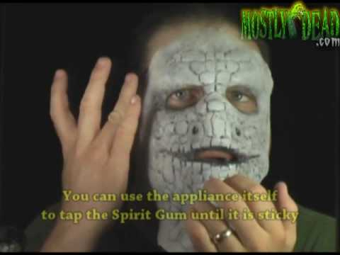 How to apply a foam latex prosthetic appliance mask to your face - FX Makeup application