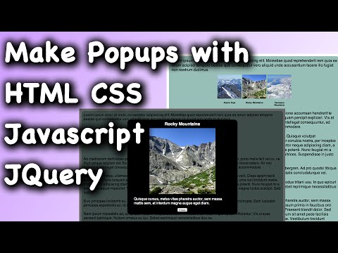 HTML CSS Javascript JQuery Webpage Popup Dialog Tutorial
