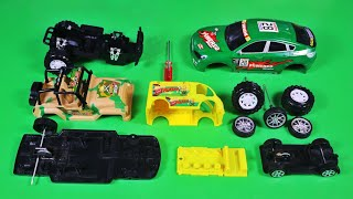 Assemble Toy Vehicles, Green Sports, Military Jeep Car, Popcorn Selling Car  | Toy Vehicles Attached
