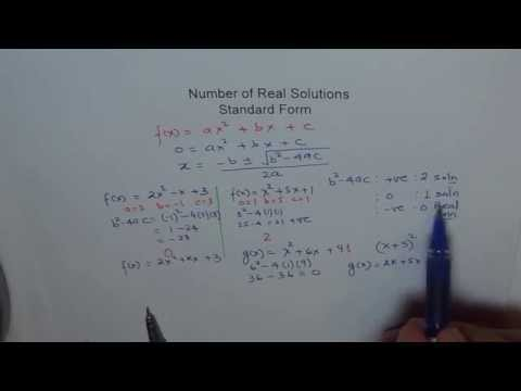 Number of Real Solutions Standard Form