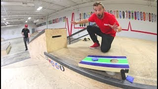 GAME OF CORN HOLE! / Trick shots!