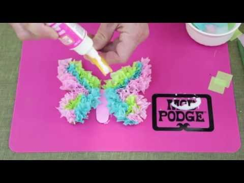 Kids Craft: Tissue Paper Butterflies with Mod Podge Washout