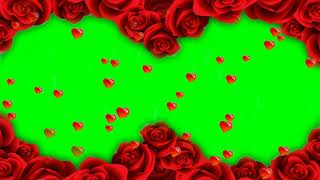 Green Screen Wedding Flower Frame with Heart Falling Effects