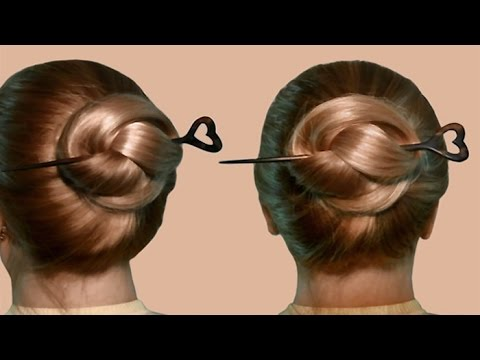Hairstyle with hair stick by yourself| Tutorial