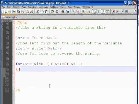 How to reverse a string without using strrev() in PHP?