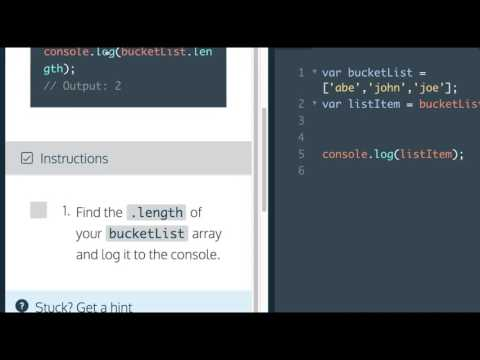 Learn Javascript 20117, Arrays, length property, Codecademy