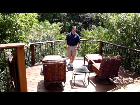Austin Barton Creek deck with outdoor fireplace