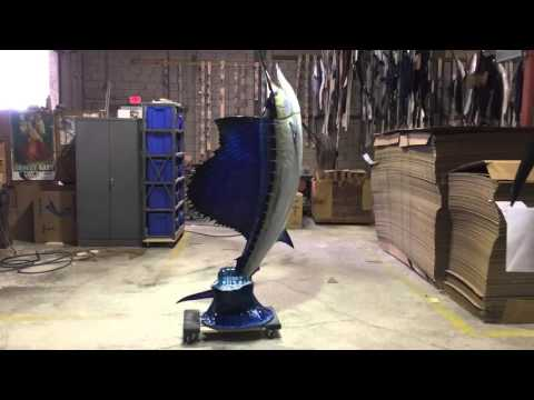 Sailfish vertical wave mount - Gray Taxidermy