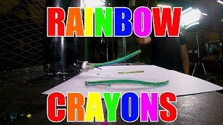 Making Rainbow Crayons with Hydraulic Press