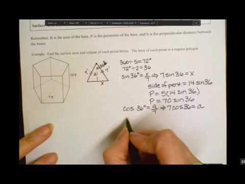 Surface Area and Volume of Prisms with Regular Polygon Bases