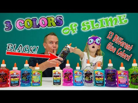 3 COLORS OF GLUE SLIME CHALLENGE! All 13 New Colors to Pick w/ My Dad!!!
