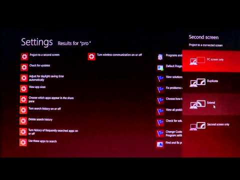 Windows 8 how to use a second screen