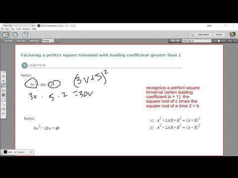 Factoring a perfect square trinomial with a leading coefficient greater than 1