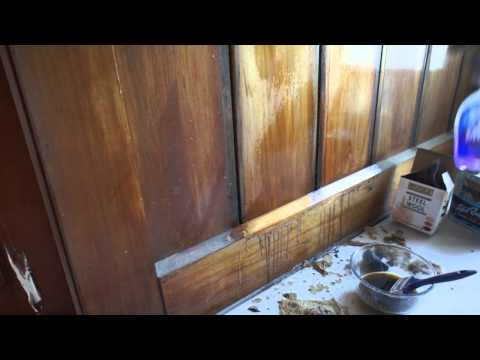Refinishing wood panelling with Briwax