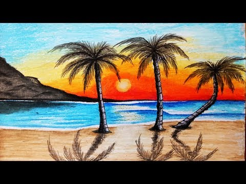 How to paint a scenery of Sunset with oil pastels color.Step by step(easy draw)