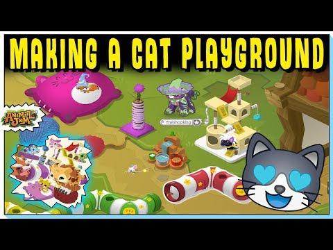MAKING A CAT PLAYGROUND ON ANIMAL JAM - COOL NEW FELINE ITEMS!