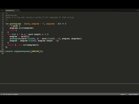 JavaScript (ES6) - Algorithms - (genAnagrams) - find all possible anagrams of a string