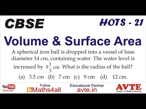 A spherical iron ball is dropped into a vessel of base  ...  Volume and Surface HOTS