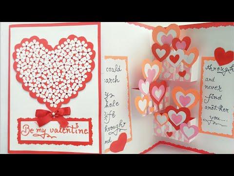 DIY Pop Up Valentine Day Card/How to make Pop Up Card for Valentine/ Hearts Pop Up Card
