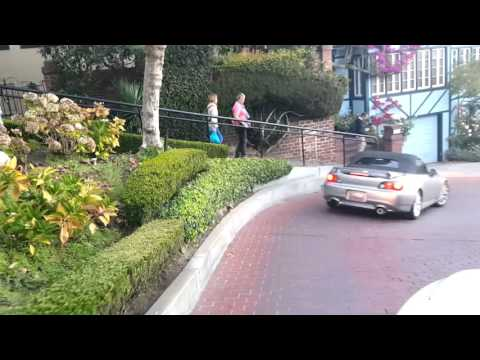 Driving down Lombard Street in San Francisco