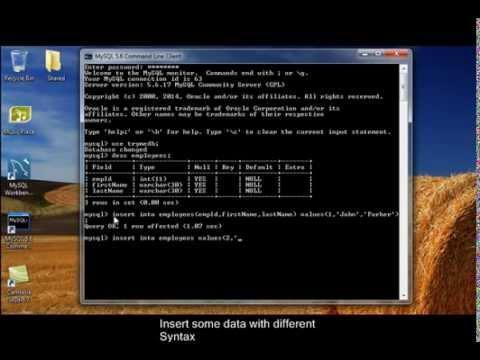 Simple SQL statements Create,insert into, delete ,update table myslq command line