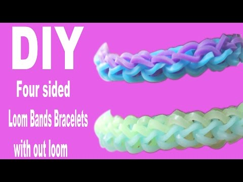 DIY How To Make Four Sided Rubber band (Loom Band) Bracelet Without Loom By Using Fork
