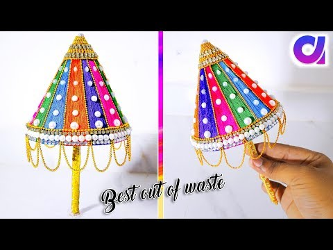 how to make Ganesh Umbrella from waste plastic bottles | Best out of waste | Artkala 274