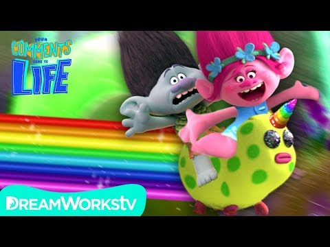 TROLLS: Poppy Gets a UNICORN And Makes Branch Ride It!   YOUR COMMENTS COME TO LIFE