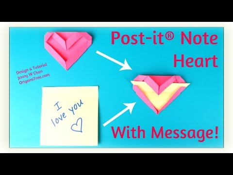 Back To School Crafts - Origami Bookmark - Post-it® Note Heart with Message - Paper Crafts
