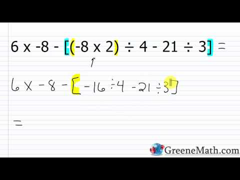 The Order of Operations with Integers