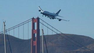 Boeing 747 dramatic low pass over the Golden Gate, San Francisco Fleet Week 2010