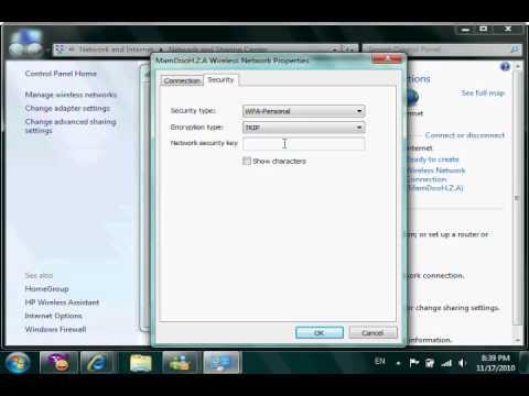 Change Wireless network key (WIFI) on PC's  OR Laptop.wmv