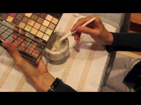 Mixing powder eye shadows to create new colors
