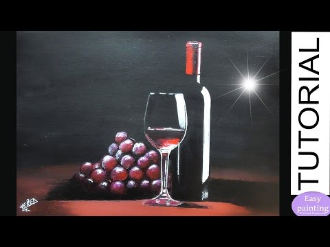 How to paint GLASS of RED WINE, a Bottle & red Grapes. Step by step Painting Tutorial Beginners