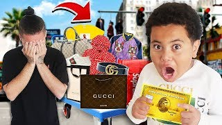 Kid Can Buy ANYTHING He Wants On Brothers Credit Card For 24 Hours - Challenge