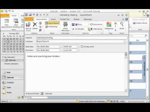 How to Create an Appointment in Microsoft Outlook 2010