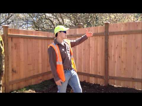 Cedar Fence Installation- Step-Down style