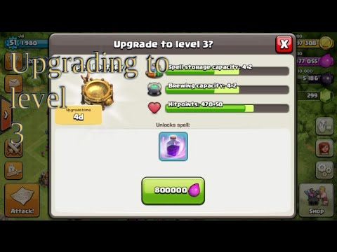 Clash of clans  Upgrading townhall 7 spell factory and a live raid