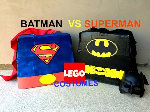 How to make (DIY) an Awesome Batman vs Superman LEGO Halloween Cardboard box Costume