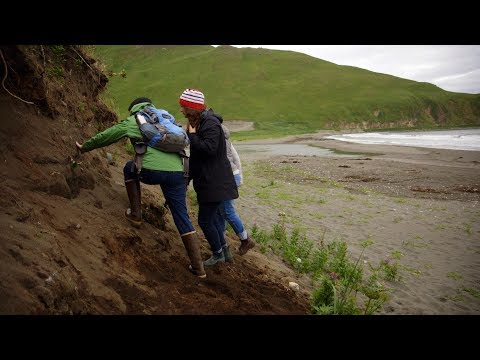 Visiting an archaeological site on Unalaska Island