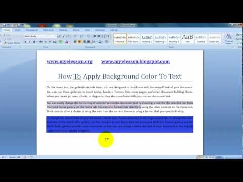 MS Word: Apply Background Color To Text English