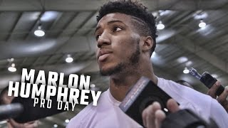 Marlon Humphrey speaks to the media following Alabama