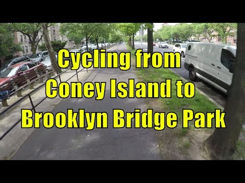 Cycling from Coney Island to Brooklyn Bridge Park, Brooklyn, NYC