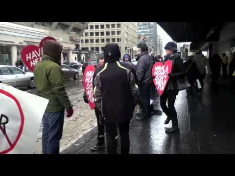 Anti-fur rally outside Holt Renfrew in Toronto
