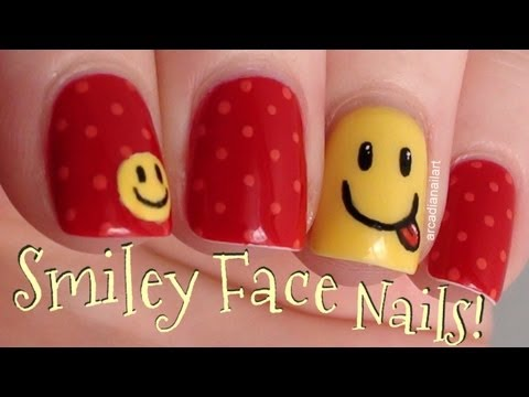 Smiley Face Nail Art   |  ArcadiaNailArt