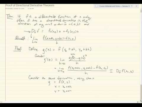 Calculus 3 - Proof of Directional Derivative Theorem