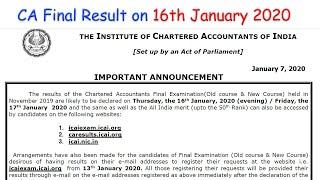 CA Final Result Nov 2019 on 16th January 2020