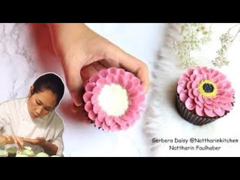 How to make Buttercream flowers | Gerbera Daisy |  การบีบดอกไม้ | ดอกเยอบีร่า / Nattharinkitchen