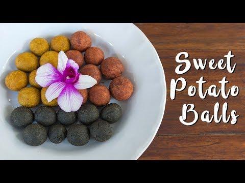 Fried Sweet Potato Balls in 3 Flavors: Purple Potato, Matcha and Charcoal | ไข่นกกระทา
