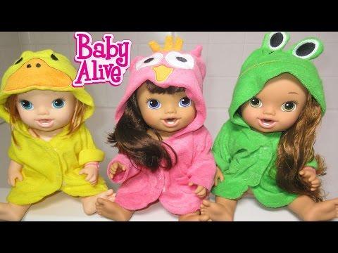 BABY ALIVE Bathtime With Annie, Darci AND Makenzie!